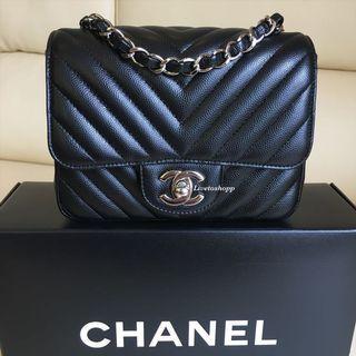 🚚 🖤 Chanel Square Mini Bag Caviar Leather and Silver Hardware