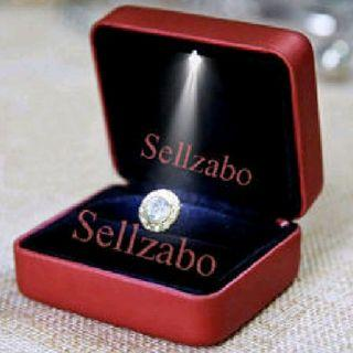 Ringcases : Square Red Colour Led Light Bulb Rings Earrings Ears Studs Ringcasings Ringbox Ringboxes Box Boxes Cases Casings Holders Propose Proposal Proposing Rom Solemnization Wedding Accessories Jewelry Jewellery Jewelleries Sellzabo Twin Duo
