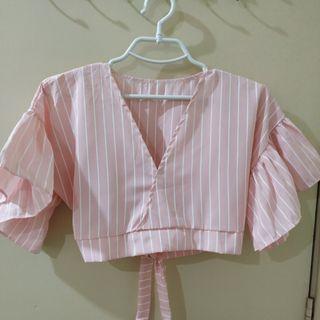 Pink Puffy Sleeves Crop Top