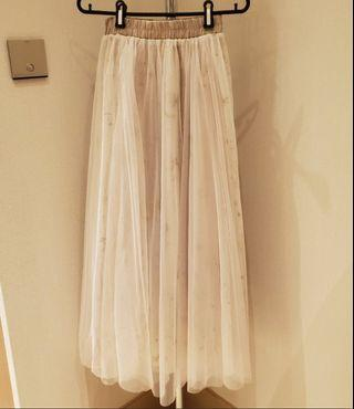 nude tulle long skirt 雪紡長裙