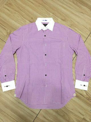 出清!Paul Smith 紫色細格紋長袖襯衫M