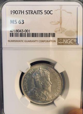 Straits Settlements 1907H Silver 50 Cents