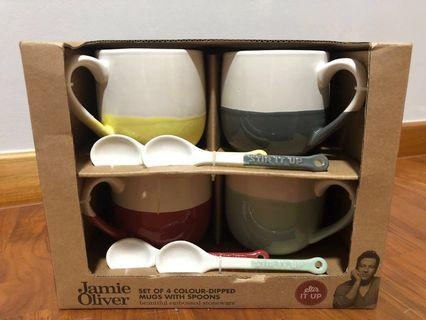 Jamie Oliver Colour-Dipped Mugs with Spoon (Price Reduced- non-negotiable)