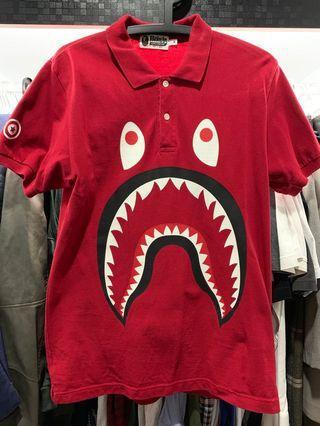 Bape Shark WGM Red Polo Tee Size M