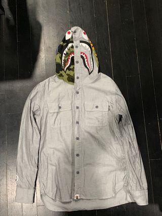 Bape Shark Half Camo Hood Long Sleeve Shirt Grey Size M