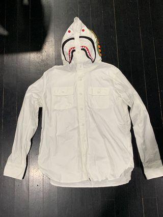 Bape Shark Hooded Long Sleeve Shirt White Size M
