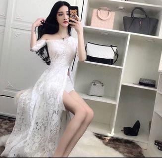 🚚 白色蕾絲斜肩長洋裝連身裙