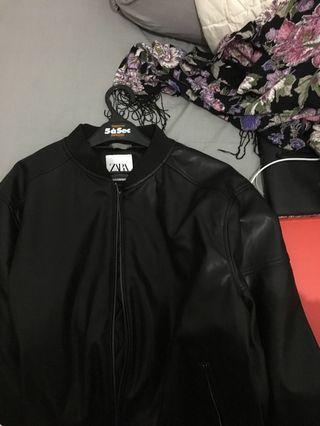 Zara Man Faux Leather Bomber Jacket with Tags