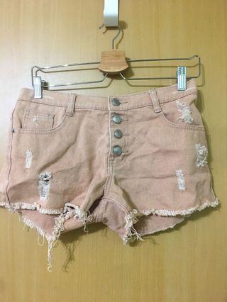 高腰排扣 玫瑰色 短褲