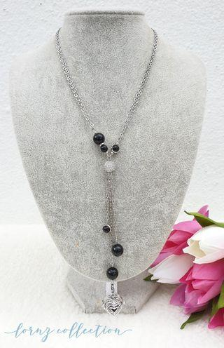 Handmade Layered Onyx Pave (detachable) Diffuser Necklace