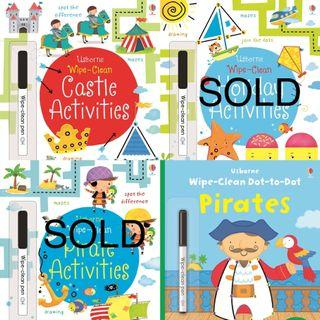 🚚 Brand new Usborne wipe clean activity books (with Wipe clean pen)