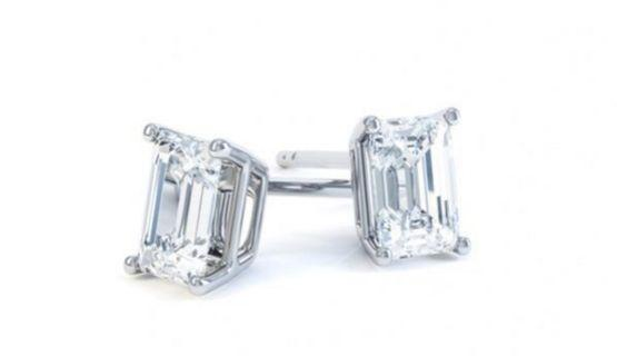 1 carat Emerald Cut Moissanite Earrings Anniversary Gifts Mother's Day