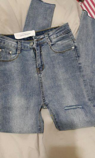 (new)前後割破顯瘦高腰牛仔褲
