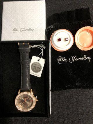 Swarovski crystals Ruby earrings and Rose gold watch #ENDGAMEyourEXCESS