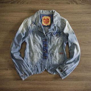 美國藍哥Wrangler 淺藍仿舊刷色牛仔外套M