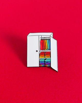 "LGBT gay pride ""Welcome to my closet"" enamel pin"