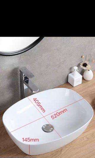 藝術長方形枱面洗手盆