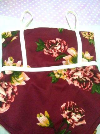 Floral monokini bikini padded swimwear swimsuit