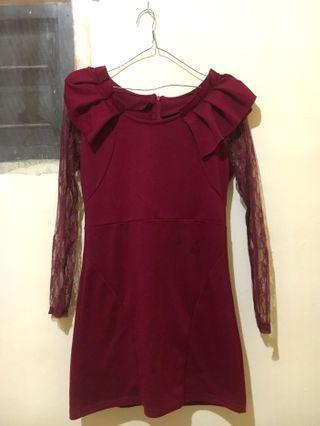 Maroon Dress with brukat