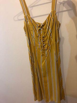Jay Jays Striped Dress Size 8 yellow w black/white stripes