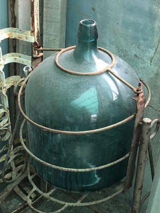 老玻璃瓶 鐵架