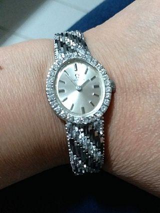 Omega 古董18K 白金鑽石錶