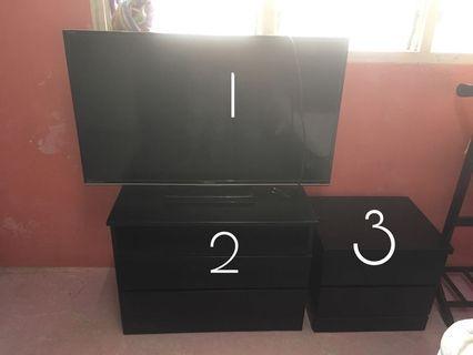 Tv+ tv cabinet + side table + free rak sejadah
