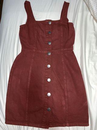 🚚 maroon denim dress