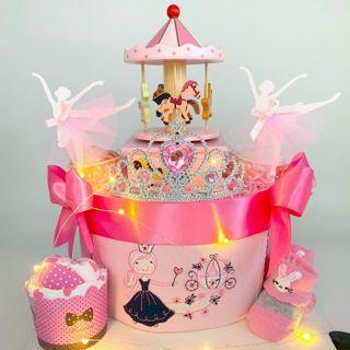 Princess theme Baby Diapers Cake - NEW  Wooden Musical carousel
