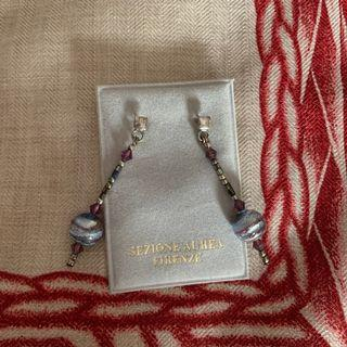 Murano Glass Beads Earrings Sterling Silver (Excellent Condition)