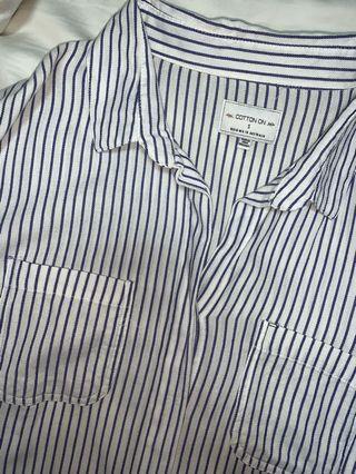 🚚 button stripe shirt