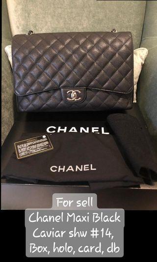 Chanel Maxi black caviar shw authentic