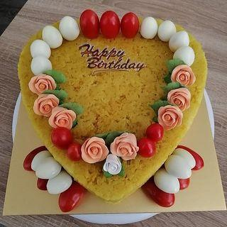 Birthday pulut kuning heart shape