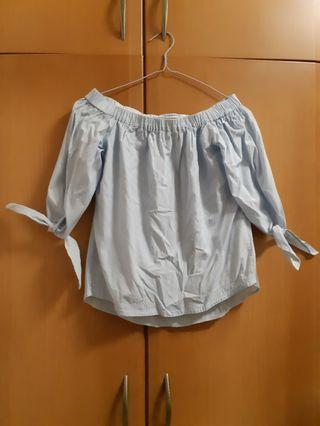 Mango off shoulder blue and white blouse