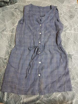 深藍色格子無袖洋裝