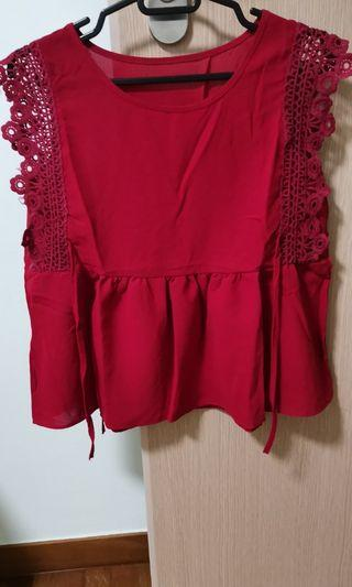 Baby doll top in Chilli Red with side ribbon