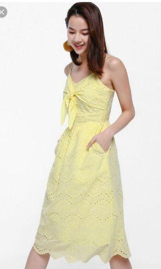 🚚 Bnwt keforie yellow crochet knotted sweet love bonito lb dress lace