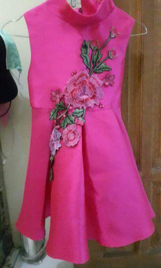Flower pink dress ( anak 3-5 tahun )