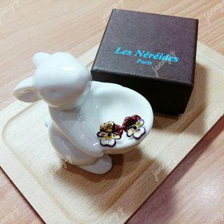 🚚 降↘Les Néréides | 花之思念 紫色三色堇針式耳環 (二手) Les Nereides 蕾娜海 LN
