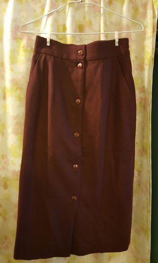 🚚 GROUP-棗紅色毛料長裙