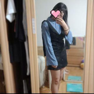 🚚 袖口分叉襯衫+飄帶V領背心連身裙 兩件式套裝