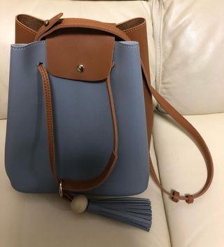 灰藍流蘇吊飾拼色手袋 Grey Blue Fashion 2-way hand bag