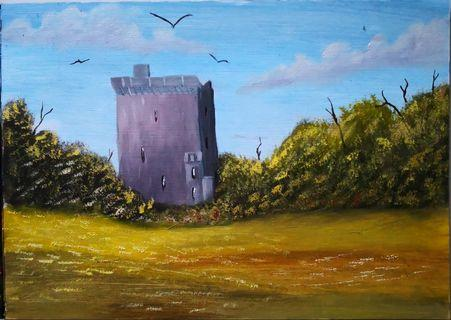 Hand painted in sg oil painting of a castle