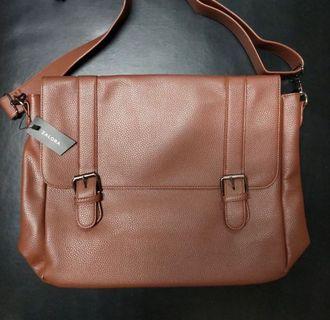 Zalora leather messenger bag
