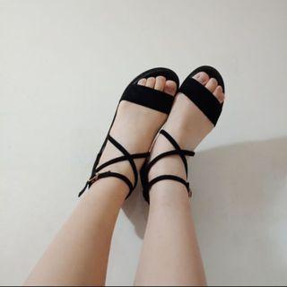 🚚 羅馬交叉綁帶絨布涼鞋 扣式 24cm 38碼 平底涼鞋 休閒鞋