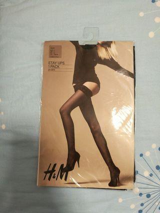 H&m black women's stay ups tights panty hose