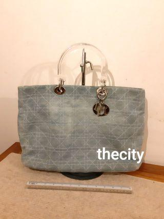AUTHENTIC DIOR LARGE LADY DIOR IN DENIM CANVAS - SILVER HARDWARE - CLEAR PLEXIGLASS HANDLES - 3 COMPARTMENTS INTERIOR - OVERALL GOOD -
