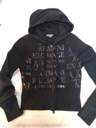 🚚 正品 Armani Exchange A/X 滿版Logo純黑連帽外套 S