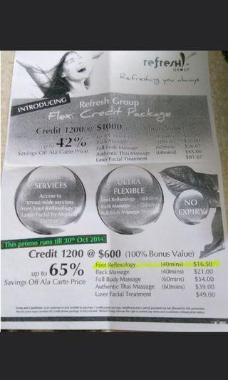 Refresh Group Flexi Credit package (massage treatment) worth $1200 going for only $600