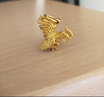 Vintage Rooster Gold Pendant chicken Zodiac 916